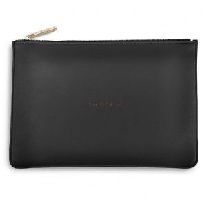 Katie Loxton TALK TO THE BAG Perfect Pouch Clutch Bag - Charcoal